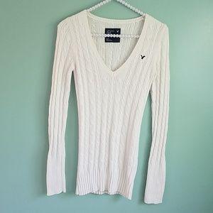 American Eagle Cream V-Neck Cable Sweater S